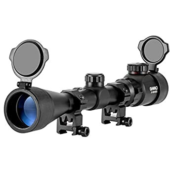OMMO 3-9X40 Rifle Scope Red Green Illuminated Optical Mil-Dot Riflescope for Hunting with Flip-Open Covers