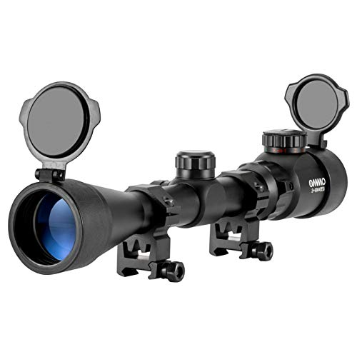 OMMO 3-9X40 Rifle Scope, Red Green Illuminated Optical Mil-Dot Riflescope for Hunting, with Flip-Open Covers