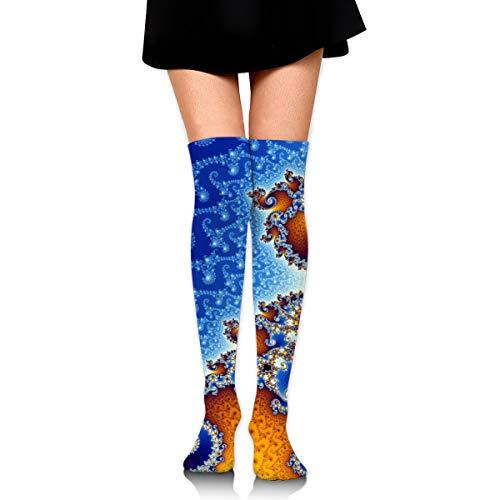 ghkfgkfgk Fractal Spiral Blue Sports Recreation Compression Socks Unisex Printed Socks Fun Long Cotton Socks Over The Calf Tube 23.6 Inch
