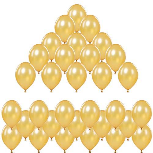 Premium Helium Luftballons Gold • Ballons mit edlem Metallic Glanz • Als Party Deko für Helium Ballons Hochzeit, Geburtstag, Taufe usw. • 50 Stück • XL Größe 30cm • extra reißfest