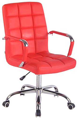 CLP Sedia Design Ufficio Deli I Poltrona Scrivania Imbottita I Sedia Direzionale Girevole E Regolabile, Colore:Rosso