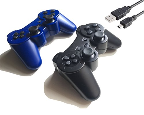 2 Pack Wireless Bluetooth Controller with Charger Cable ( Blue and Black - Compatible with Playstation 3 PS3 )