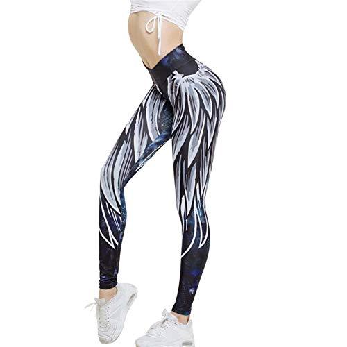 Sexy Veer van de engel Print Naakt yoga broek Female Tights Broek van de Sporten Peach Hip Gym Running Pants (Size : S)