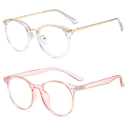 Blue Light Blocking Vintage Glasses Women Men, Computer Glasses, TV Glasses, Anti Eyestrain, Round Frame Eyeglasses (Transparent Frame +Pink(No-Nose pad))