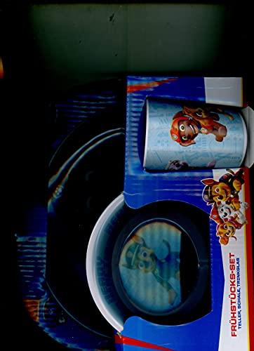 POS 25287 - Frühstücksset mit Paw Patrol Motiv, 3 teiliges Geschirrset für Kinder bestehend aus Teller, Schale und Becher, stabiles Melamin, bpa- und phthalatfrei, spülmaschinengeeignet