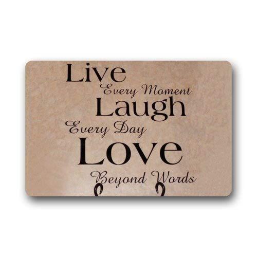 ZMvise - Felpudo de franela, diseño fresco y especial, Live Laugh Love, para interiores y exteriores, 15,7 x 60 cm