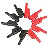 FTVOGUE 10Pcs 4mm Red/Black Safety Conectores de Conector Banana Apilables Completamente Aislados
