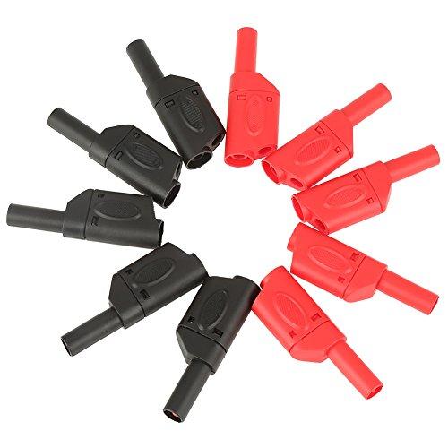 1004mm Sicherheit vollisoliert stapelbar Banana Stecker Stecker Multimeter Test Adapter–Rot & Schwarz