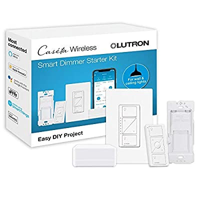 Lutron Caseta Smart Start Kit, Dimmer Switch with Smart Bridge and Wall Mount Pico Adapter, Works with Alexa, Apple HomeKit, and the Google Assistant   P-BDG-PKG1W-A   White