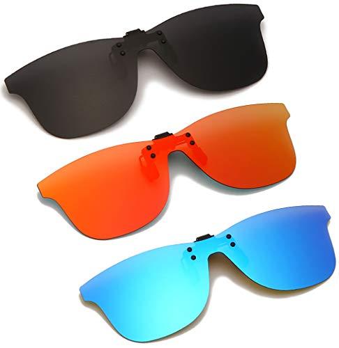Long Keeper Gafas de Sol Polarizadas con Clip ANTI-UV400 Gafas Conducir Sin Montura para hombre y mujer para al aire libre (Gris+Rojo+Azul)