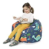BANBALOO- Bolsa Puff para guardar juguetes de peluche-Saco almacenamiento para cojines y mantas convertible en sillón para niños- Organizador infantil. (DINO, 66)