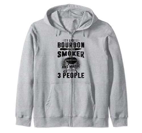 Me gusta el bourbon y mi ahumador y quizás 3 personas Sudadera con Capucha