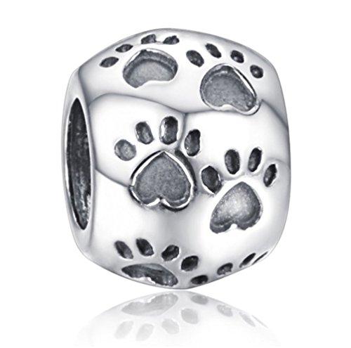 "Andante-Stones - Original, Plata De Ley 925 Sólida, Cuenta ""Patitas De Animales"", Elemento Bola Para Pulseras Modulares European Beads + Saco De Organza"