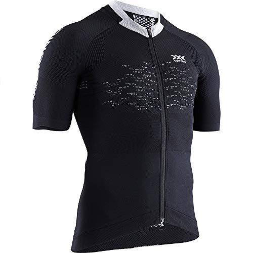 X-Bionic The Trick 4.0 Bike Zip Chemise Homme, Opal Black/Arctic White, FR : M (Taille Fabricant : M)