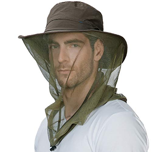Fancet Mens Anti Mosquito Insect Bug Waterproof Safari Sun Outdoor Protection Fishing Bush Rain Hat Bucket Army Green