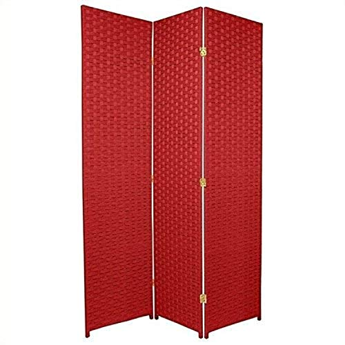 ORIENTAL Furniture 6-Feet Tall Woven Fiber Room Divider, Special Edition, Cherry Red