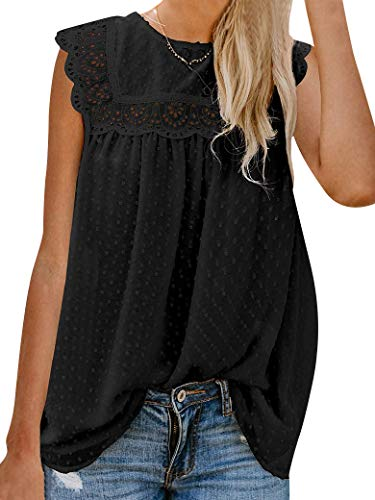 WLLW Womens Swiss Dots Shirts Short Sleeve Lace Shirts Blouses Vintage Elegant Tank Tops Black