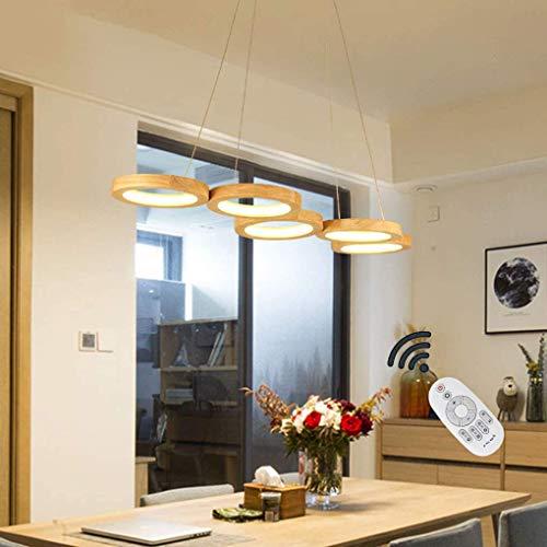 Ring LED Pendelleuchte Dimmbar Holz Hängeleuchte Esstisch Pendellampe Höhenverstellbar Modern Einfach Rund Kronleuchter Mit Fernbedienung Für Schlafzimmer Wohnzimmer Esszimmer Küche Holzlampe