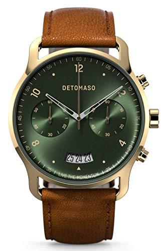 DETOMASO SORPASSO Cronografo Gold Green Orologio da polso da uomo analogico al quarzo, cinturino in pelle italiana marrone