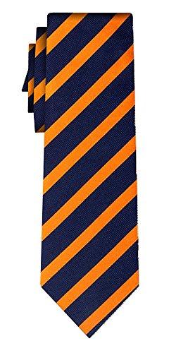 Cravate soie rayée stripe 1cm orange navy