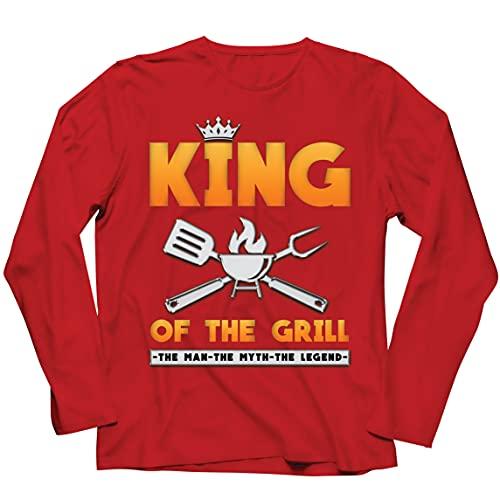 lepni.me Camiseta de Manga Larga para Hombre El Rey de la Parrilla Maestro de la Barbacoa Chef El Hombre El Mito La Leyenda (XXL Rojo Multicolor)