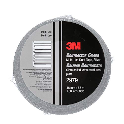 3M 2979 Multi-Use Duct Tape, Silver, 1.88 in x 60 yd x 7 mil, 1 Pack, Temporary Repair, Patching, Tabbing, Capping Pipe, Marking, Labeling