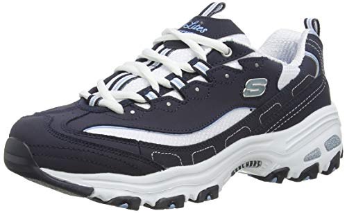 Skechers Women's D'Lites Biggest Fan Trainers, Blue (Navy TrubuckWhite MeshCarolina Blue Trim NVW), 6 UK 39 EU