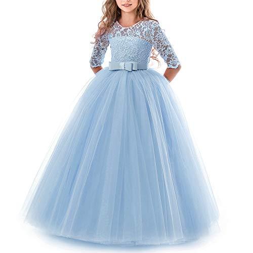 TTYAOVO Chicas Princesa Flor Vestir Largo Pelota Vestido Cordón Cumpleaños Vestidos 6-7 años(Talla130) 378 Azul
