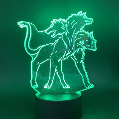 3D LED Symphony Light Nachtlicht Nachttischlampe Bunte Variation Kreatives Geschenk Esstisch Schreibtischdekoration - Dreiköpfiger Wolf Schwarze Basis Touch Schalter