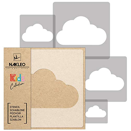 5 Stück WIEDERVERWENDBARE Schablonen aus Kunststoff // CLOUD // Wolke // 34 x 34 cm bis 9 x 9 cm // Kinder Room Decor // Kinderzimmer Vorlage