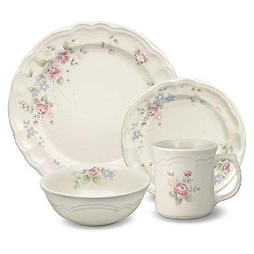 Pfaltzgraff Tea Rose 16 Piece Dinnerware Set, Service for 4