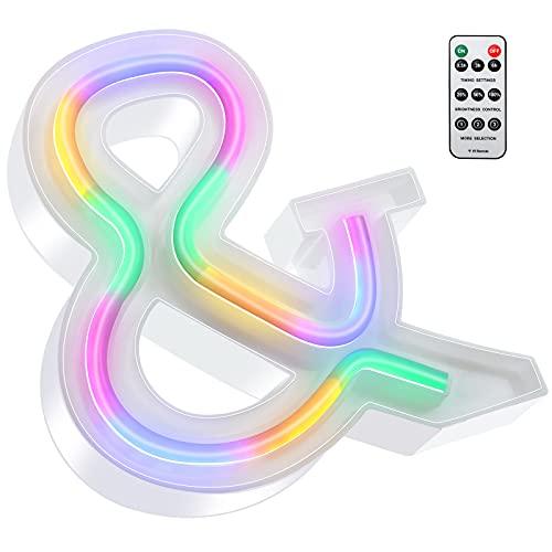 Luces LED de Letras Coloridas, Señal de Neón de 26 Alfabeto Luces de Número de Marquesina con Control Remoto Lámparas de Brillo Alimentadas por 2 Pilas AAA para Pared de Hogar (Símbolo &)