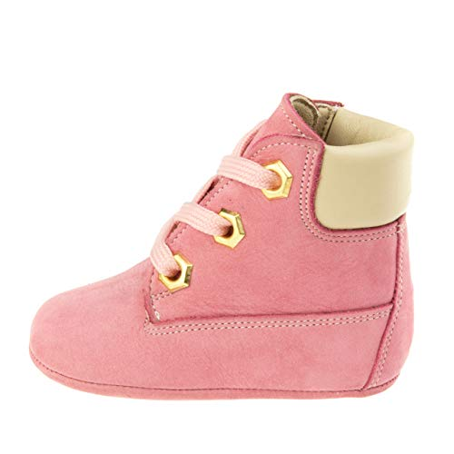 Ella Bonna Baby Boots, Full Grain Cowhide Leather, Soft Insole and Sole, Breathable, Handmade Hand-Sewn Designer Shoes, for Baby Boys Girls Toddlers Infants (US 5.5 M, Pink - Beige)
