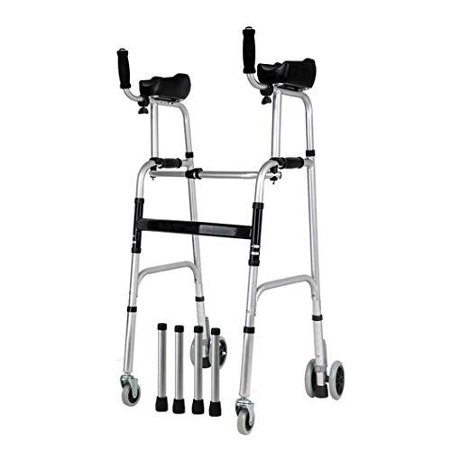 Renovation House Walker Caminante de interior para adultos Soporte plegable con almohadilla para reposabrazos Andador de 4 ruedas Asiento acolchado Ayudas a la movilidad Altura ajustable para adultos