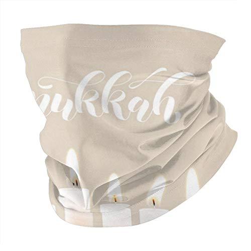 Feliz Hanukkah velas luces bokeh y pañuelo blanco mascarilla a prueba de polvo a prueba de viento variedad pañuelo para la cabeza pasamontañas para mujeres hombres