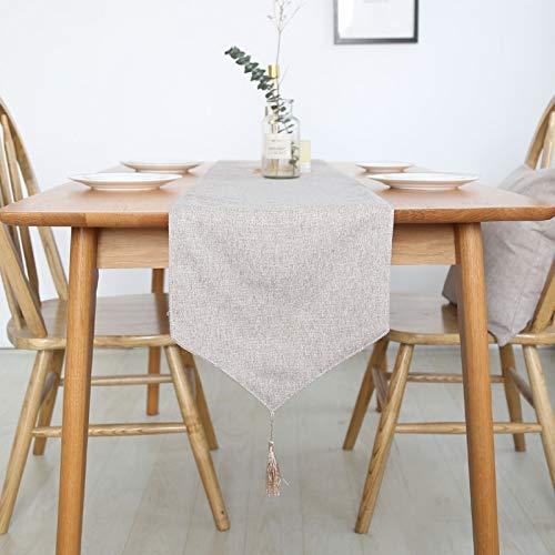 Hermosa Inicio Camino de Mesa Mantel Decorativo 2 Lados de algodón de Lino clásico Mesa de Cama Mat Comedor Partido decoración para casa (Color : Linen, Size : 30X180cm)