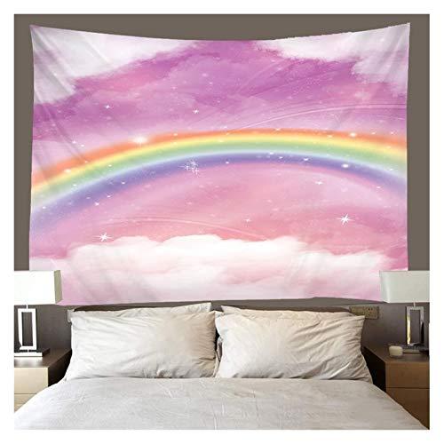 Tapiz Arco Iris tapices Colgando de Pared Nubes Blancas Impresas Tapicería Camping Tienda de campaña Viaje Sandy Beach Lanzar Hoja de Cama Decoración de Arte (Color : A, tamaño : W230xH180cm)