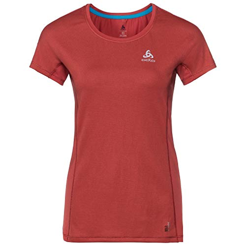 Odlo Women Omnius Light BL Top Crew Neck Shortsleeve Vêtements De Course T-Shirt Red - Silver S