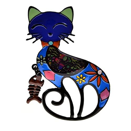 Broches de pintura esmaltada de colores para gatos, unisex, para mujeres, niñas, diseño de peces