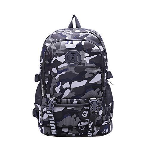 INSISTON Stilvolle Camouflage Rucksack,Coole rucksäcke Schulrucksack Jungen Teenager Lässig Tagesrucksack für Arbeit Schule Reisen Camping,Schwarz