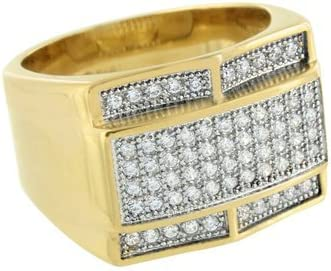 Gold Finish Mens Ring Stainless Steel Lab Created Diamonds Wedding Engagement