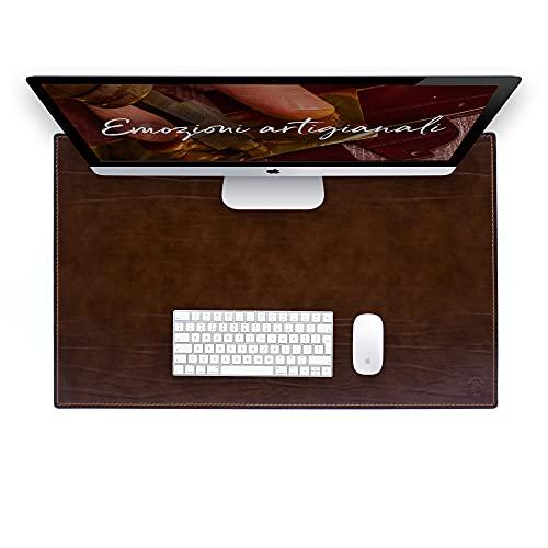Vade de escritorio para escritorio de oficina y alfombrilla para ordenador de cuero de fabricación artesanal – 80 x 50 cm – Fabricado en Italia | FP piel – Dante (marrón)