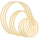 Sntieecr 9 Pack 3 Sizes (6, 8 & 10 Inch) Wooden Bamboo Floral Hoop Wreath Macrame Craft Hoop Rings for DIY Dream Catcher, Wedding Wreath Decor and Wall Hanging Crafts