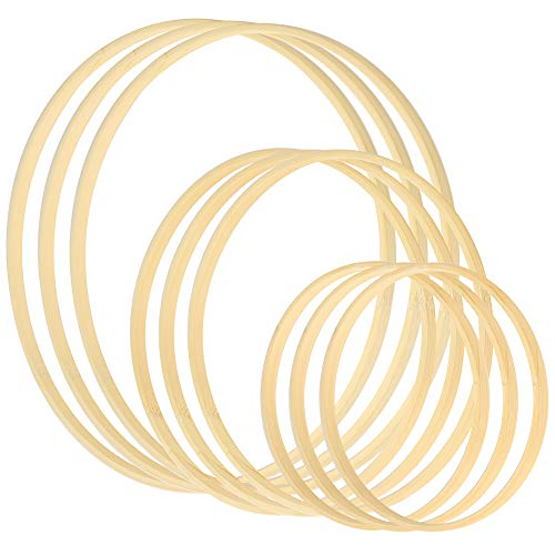 Sntieecr 9 Pack 3 Sizes (6, 8 & 10 Inch) Wooden Bamboo Floral Hoop Wreath Macrame Craft Hoop Rings for DIY Dream Catcher, Christmas Wreath Decor and Wall Hanging Crafts