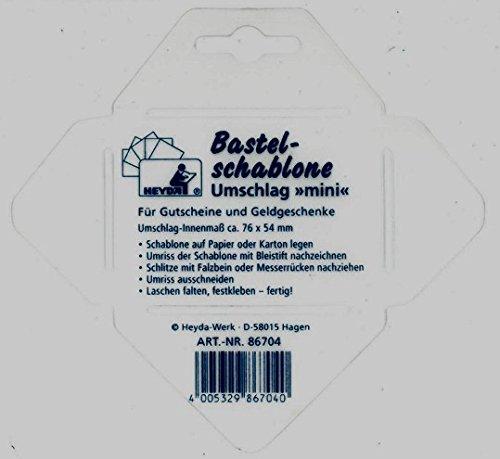 Brunnen Heyda Bastel Schablone für Umschlag-Innenmaß ca.76x54mm für Geldgeschenke oder Gutscheine 86704