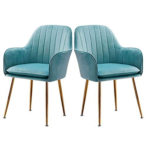 HYRGLIZI Dining Chairs Modern Style Dining Room Side Chairs Set of 2 Mid Century Lounge Velvet Chair for Kitchen Living Room High Back Armchair (Color : Blue)