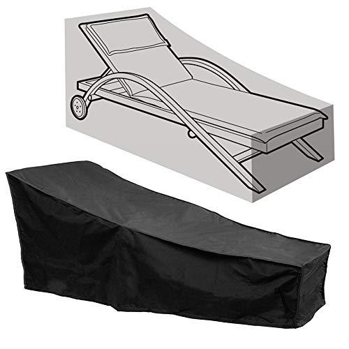 Garten Balkon Sonnenliege Abdeckung Wasserdicht Anti UV Staubdicht Terrasse Sonnenliege Deck Stuhlabdeckung Gartenmöbel Protector mit einem Aufbewahrungstasche(Schwarz)