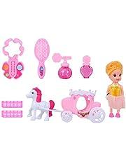 Balacoo Juego de Muñecas de Moda de Princesa de 7 Piezas Hermoso Y Adorable Juego de Maquillaje Juguetes de Belleza Juguetes Cosméticos para Niños Niñas Y Bebés
