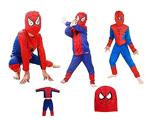 Sarvda Spider Boy Dress For Boys Girls Kids | Set Of 3 (Top Bottom Mask ) | Superhero Costume Fancy Photoshoot Party School | Activity Role Play| Birthday Gift (2-4 Years)