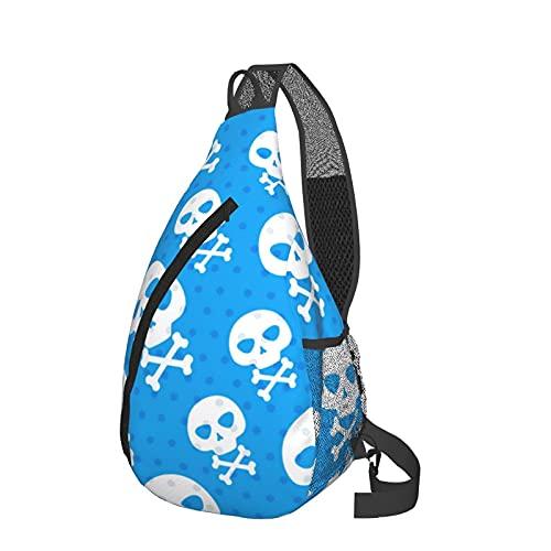 HBAUAJIA Bolso de hombro Skull Dot Messenger Rope Triangle Backpack Senderismo Mochila, Negro, Talla única